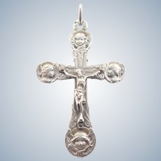 French Art Nouveau Silver Angels' Heads Crucifix
