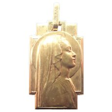 French Art Deco Gold Filled Mary Medal - MURAT