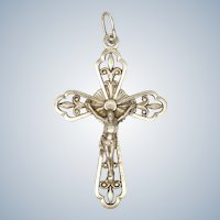 French 19C Silver Crucifix