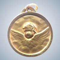 French Gold Filled Cherub Medal or Charm - FIX