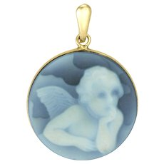 Carved Hardstone Cherub Pendant or Charm with 14K Rim and Bail