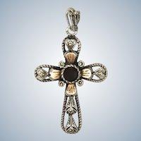 Sterling Silver and Rose Gold Garnet Paste Cross Pendant