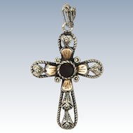 Sterling Silver and Rose Gold Garnet Paste Cross Pendant