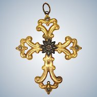 Victorian Gilt Brass and Cut Steels Large Cross