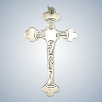 English Sterling Silver Engraved Cross - Hallmarked 1942