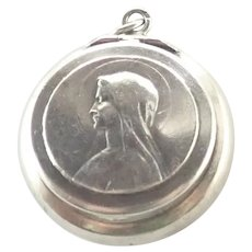 Fench Antique Silver Mary Ex-Voto Box Pendant
