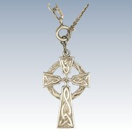 English Sterling Silver Celtic Cross Necklace