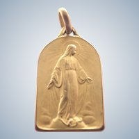 French Art Deco Gold Filled Virgin Mary Medal -FIX