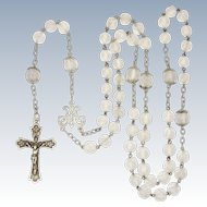 French Circa 1900 Heavy Silver and Crystal Glass Rosary