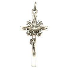 French 19C Silver Fleur de Lis Crucifix