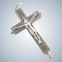 French Antique Silver Reliquary Crucifix