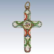 Italian Circa 1910 Micro-Mosaic Cross Pendant