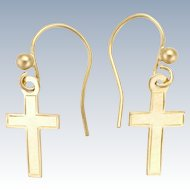 English 9K Gold Cross Earrings -Pierced Ears