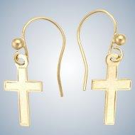 English 9K Gold Cross Earrings -Pierced Ears