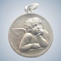 French Silver Cherub Medal