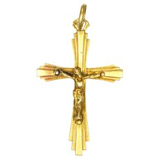 French Art Deco 18K Gold Crucifix Pendant