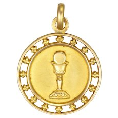 French Art Deco Gold Filled Communion Medal - FIX