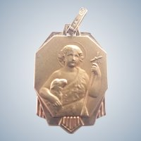 French Art Deco St John Baptist Gold Filled Medal or Charm - FIX