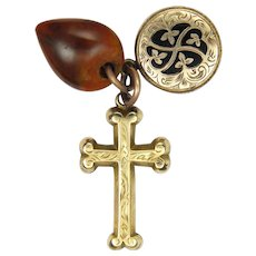 Victorian 9K Cross Enamel Locket and Agate Heart Charms