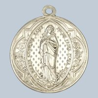 French Large  Virgin Mary and St. Aloysius Silver Plated Medal - PENIN