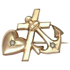 French Faith Hope and Charity Gold Filled Pin
