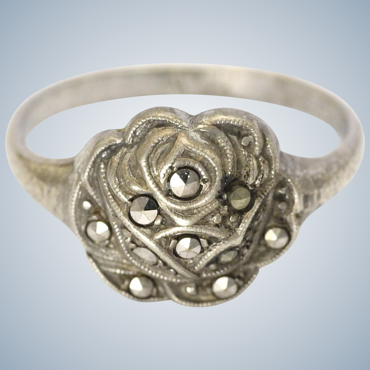 French Art Deco Silver Marcasites Rose Ring with Secret Mary Enamel
