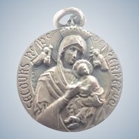 French Antique Silver Medal - Our Lady of Perpetual Help