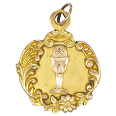 French Art Nouveau Gold Filled FIX Communion Medal -1904