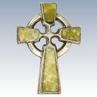 Irish Connemara Marble Celtic Cross and Silver Pin