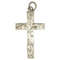 English 1910 Sterling Silver Engraved Cross Pendant