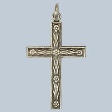English Sterling Silver Flower Cross Pendant - Ward Brothers