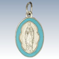 French Silver Enamel Pendant - Our Lady of Lourdes