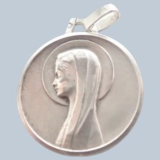 French Art Deco Silver Virgin Mary Medal