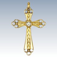 French Gold Filled 'Fix' Cross Pendant - Savard