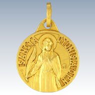 French Gold Filled St Dyonesia Small Medal - KARO