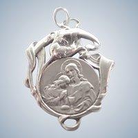 French Art Nouveau Silver Communion Medal 1908
