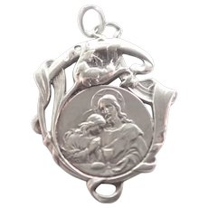 French Art Nouveau Silver Communion Medal 1908