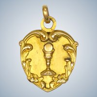 French Gold Filled FIX Communion Medal -1923