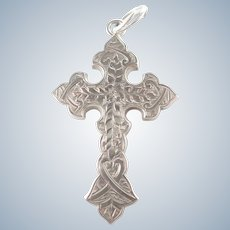 English Victorian Sterling Silver Engraved Cross