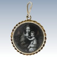French Circa 1900 Silver Locket  with Image of the Virgin and Child