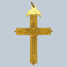 Victorian Pinchbeck Raised Flowers Large Cross Pendant