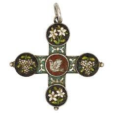 Victorian Italian Micro-Mosaic Pendant Cross on 800 Silver