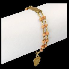 French Art Deco Gold Fill and Natural Coral Beads Dizainier or Rosary Bracelet