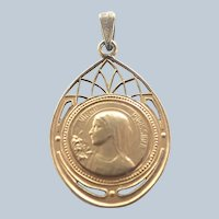 French Gold Plated 'Virgo Purissima' Pendant