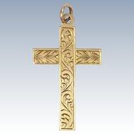 English Circa 1900 9 Carat Gold Engraved Cross Pendant