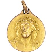French Gold Filled Jesus Christ with Crown of Thorns Medal - FIX