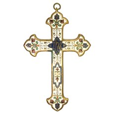 French Large Enamelled Hanging Cross