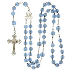 French Circa 1900-1910 Silver and Blue Glass Rosary