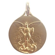 French 18K Gold Filled St Michael Medal - RARE!