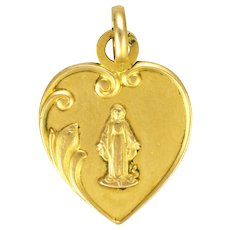 French Gold Filled 'FIX' Heart Shaped Virgin Mary Pendant or Charm
